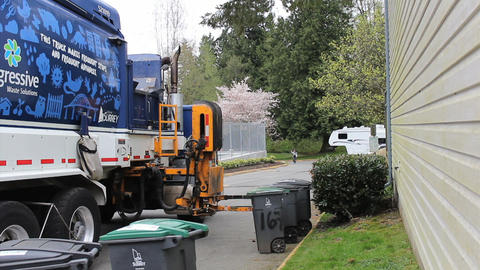 Garbage Truck Picks Up Trash Footage