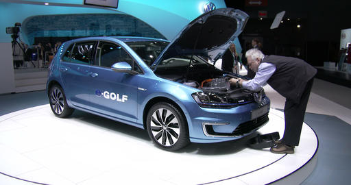 New E-Golf At The New York International Auto Show stock footage
