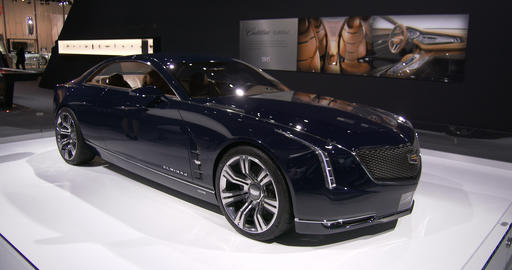 Cadillac exhibit at the New York Auto Show Footage