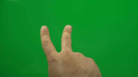 Hand Counting To Three On A Green Screen, Chroma,  Footage
