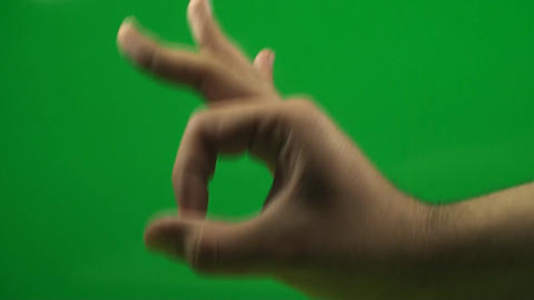 Hand Making The OK Sign On A Green Screen, Chroma, Footage