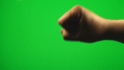Hand Making A Flip Sign On A Green Screen, Chroma, Footage