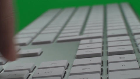Hand Typing Numbers On A Keyboard On A Green Scree Live Action
