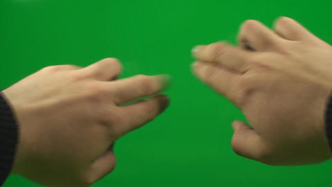 Hands Making Touch Screen Gestures On A Green Scre stock footage