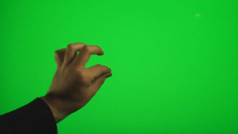 Hands Zooming In And Out On A Green Screen, Chroma Footage
