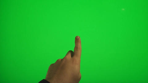 Finger Touching The Center On A Green Screen, Chro Live Action