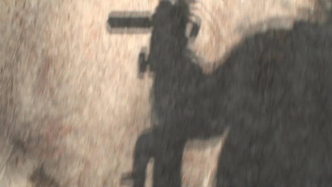 Running Trough Silhouette Of The Cameraman The Woo stock footage