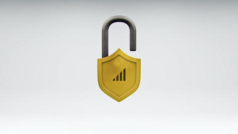 Internet Safety Shield and Network Security Lock CG動画素材