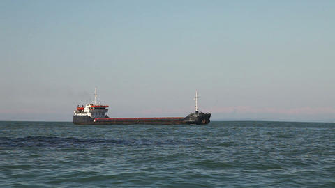 Bulk carrier ship sailing in the sea Footage