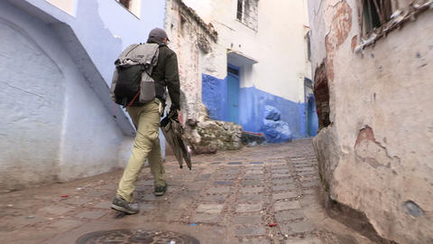 FT 0047 Man Walks In Chefchaouen 1 24 P Aud PJ 95 Footage