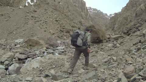 FT 0060 Backpacker In Atlas Mountains 2 Go Pro 24 Footage