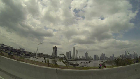 Beautiful look over the skylines of Panama City Footage
