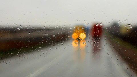 raindrops on a car windshield i Footage