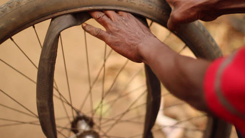 Bike Tire Repair Congo stock footage