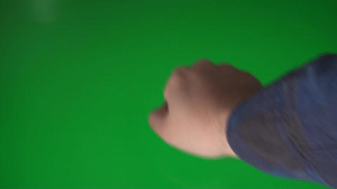 Man Knocking On A Green Screen, Chroma, Key, Gestu Footage