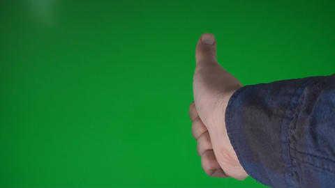 Man Making The Like Gesture On A Green Screen Chro stock footage