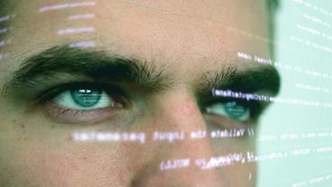 Futuristic computer worker 3 shots Footage