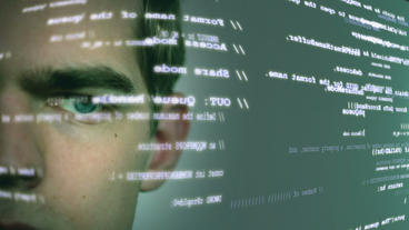 Futuristic Computer Worker With Code 2 stock footage