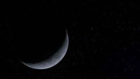 Crescent Moon W Stars Time Lapse 11335 stock footage