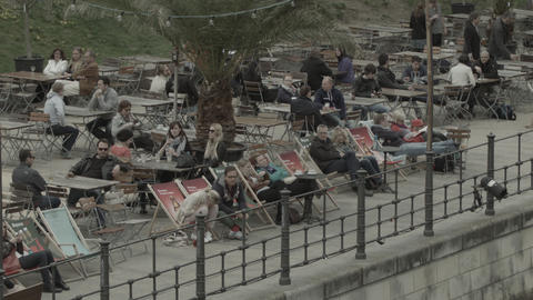 Open-air Bar At The Spree stock footage