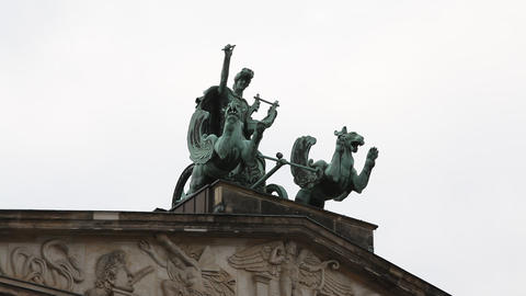 Statue At Gendarmenmarkt stock footage