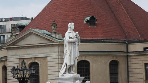 Schiller Statue At Gendarmenmarkt stock footage