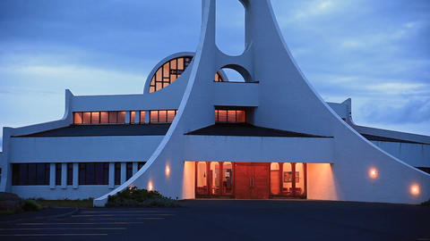 contemporary church at night (Iceland) Footage