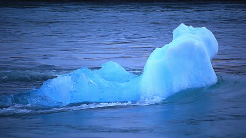 Iceberg in the Joekulsarlon glacial lake Footage