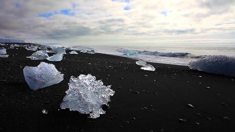 Large chunks of glacial ice at Joekulsarlon Footage