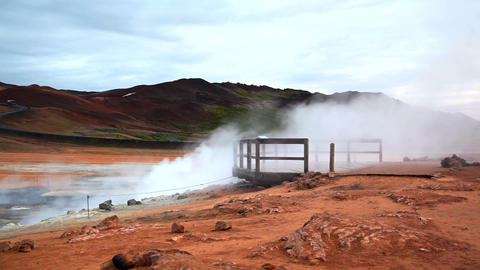 Geothermal activity from vents in Hveraroend Footage