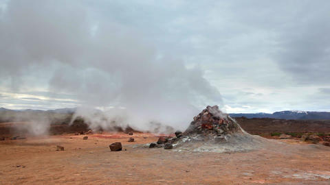 Geothermal vent letting off steam in Hveraroend Footage