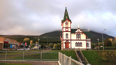 Picturesque timber framed church in Husavik Live Action