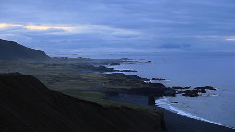 Panoramic view of the Iceland coastline Footage