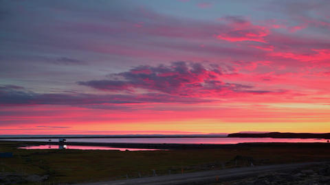 Dramatic vivid sunset in Iceland Footage