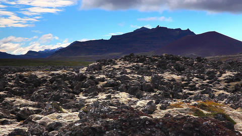 mountains and lava field on Iceland Footage