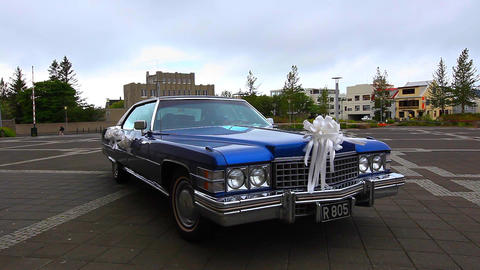 Old Vintage American Car Decked Out For A Wedding stock footage
