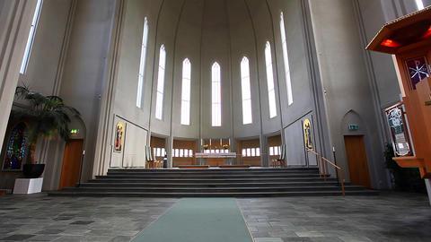 Interior Of The Hallgrímskirkja In Reykjavik stock footage