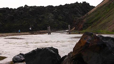 footbridge at Landmannalaugar in Iceland Footage