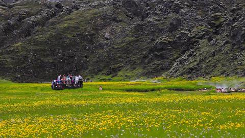 hot spring at Landmannalaugar in Iceland Footage