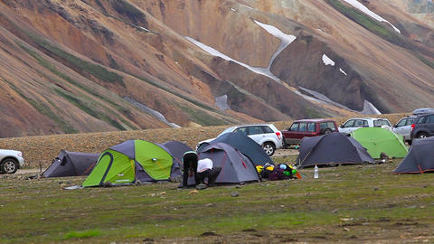 camping site in Landmannalaugar, Iceland Live Action