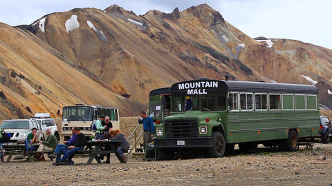 Small Shop In A Bus In Landmannalaugar, Iceland stock footage