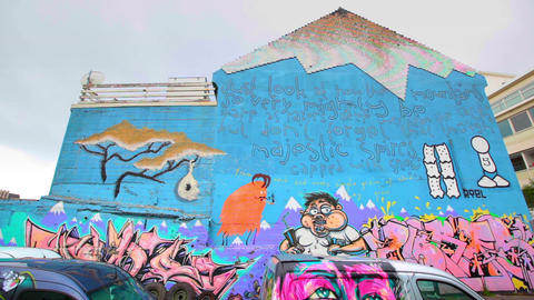 Street art in Reykjavik, Iceland Footage