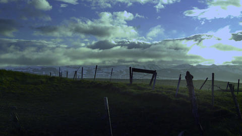 Old Broken Down Dilapidated Fence In Iceland stock footage