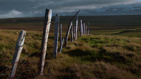 Old broken down dilapidated fence in Iceland Footage