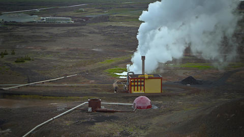 Geothermal powerplant Footage