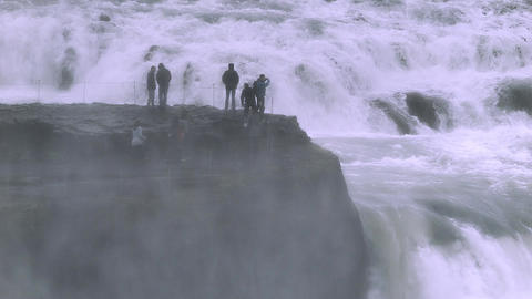 Gullfoss waterfall flowing into a gorge in Iceland Footage