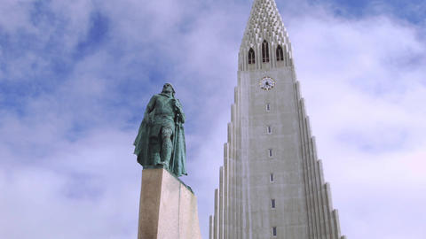 Hallgrimskirkja Church and statue of Leif Erikson Footage