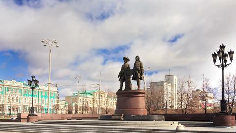 Monument to the founders of the city. Panorama. Ye Footage