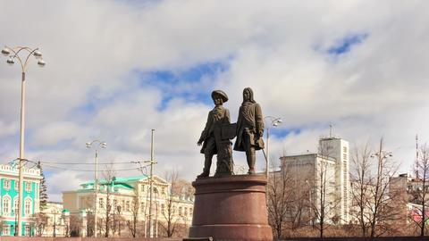 Monument Tatischev and De Genin. Zoom. Yekaterinbu Footage