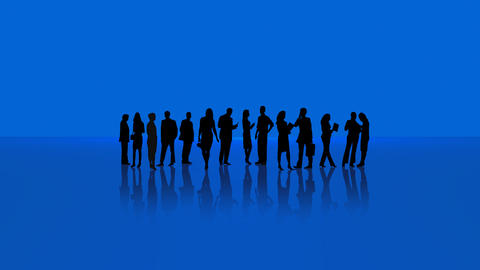 Business People Into Blue Environment Animation